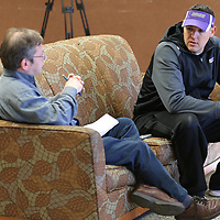 SALEM, VA - DECEMBER 13: University of Mount Union Head Coach Vince Kehres meets with the media during Stagg Bowl 45 media day at the Salem Civic Center on December 13, 2017 in Salem,VA. (Photo by Larry Radloff, d3photography.com)