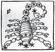 Zodiac sign of Scorpio.  From 'Sphaera mundi', Strasburg, 1539