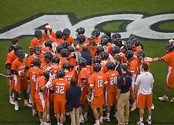 The Virginia Cavaliers huddle up before the start of the second half.  The #2 ranked Duke Blue Devils defeated the #3 ranked Virginia Cavaliers 11-9 in the finals of the Men's 2008 Atlantic Coast Conference tournament at the University of Virginia's Klockner Stadium in Charlottesville, VA on April 27, 2008.
