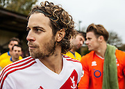 Whitehawk captain Sergio Torres before kick-off. The FA Cup match between Whitehawk FC and Lincoln City at the Enclosed Ground, Whitehawk, United Kingdom on 8 November 2015. Photo by Bennett Dean.