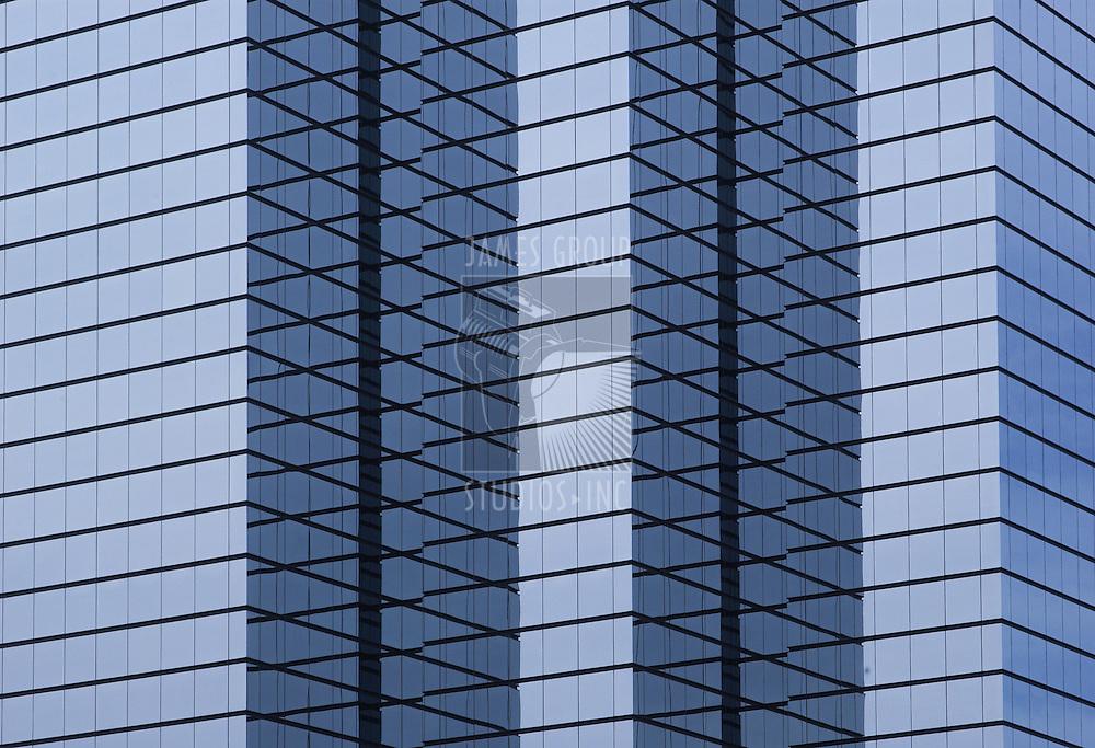 modern hi-rise corporate office building close-up, wide orientation