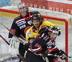 31.01.2012, Albert Schultz Halle, Wien, AUT, EBEL, UPC Vienna Capitals vs HC Orli Znojmo, im Bild Ondrej Kacetl, (HC Orli Znojmo, #90), Taylor Holst, (UPC Vienna Capitals, #94) Lubomir Stach, (HC Orli Znojmo, #26) // during the icehockey match of EBEL between UPC Vienna Capitals (AUT) and HC Orli Znojmo (CZE) at Albert Schultz Halle, Vienna, Austria on 31/01/2012,  EXPA Pictures © 2012, PhotoCredit: EXPA/ T. Haumer