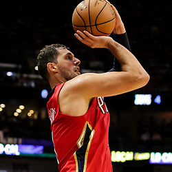 Oct 19, 2018; New Orleans, LA, USA; New Orleans Pelicans forward Nikola Mirotic (3) shoots against the Sacramento Kings during the second half at the Smoothie King Center. The Pelicans defeated the Kings 149-129. Mandatory Credit: Derick E. Hingle-USA TODAY Sports