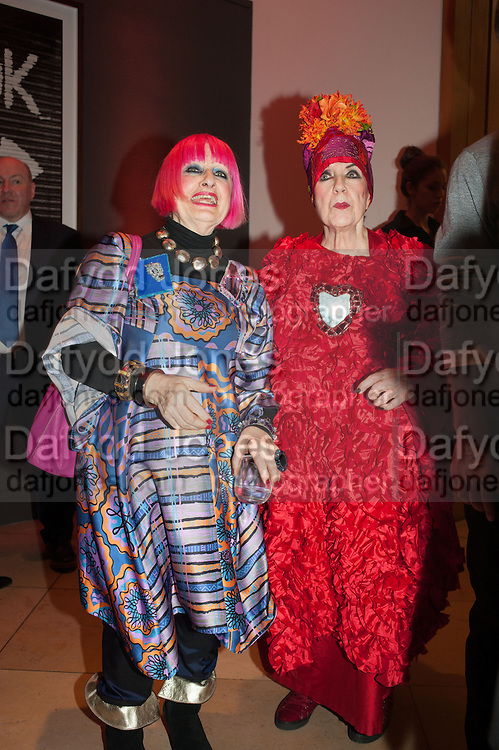 ZANDRA RHODES; MOLLY PARKIN, Opening of Bailey's Stardust - Exhibition - National Portrait Gallery London. 3 February 2014