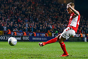 PENALTIES Charlton Athletic midfielder Chris Solly (20)  takes his penalty during the EFL Sky Bet League 1 second leg Play-Off match between Charlton Athletic and Doncaster Rovers at The Valley, London, England on 17 May 2019.
