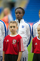 CARDIFF, WALES - Tuesday, August 21, 2014: England's Eniola Aluko lines-up before the FIFA Women's World Cup Canada 2015 Qualifying Group 6 match against Wales at the Cardiff City Stadium. (Pic by Ian Cook/Propaganda)