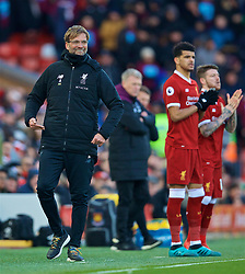 LIVERPOOL, ENGLAND - Saturday, February 24, 2018: Liverpool's manager Jürgen Klopp reacts during the FA Premier League match between Liverpool FC and West Ham United FC at Anfield. (Pic by David Rawcliffe/Propaganda)
