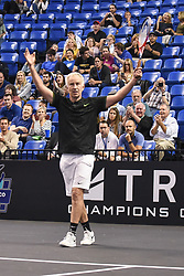 October 4, 2018 - St. Louis, Missouri, U.S - JOHN MCENROE celebrates after winning his first game of the match during the Invest Series True Champions Classic on Thursday, October 4, 2018, held at The Chaifetz Arena in St. Louis, MO (Photo credit Richard Ulreich / ZUMA Press) (Credit Image: © Richard Ulreich/ZUMA Wire)