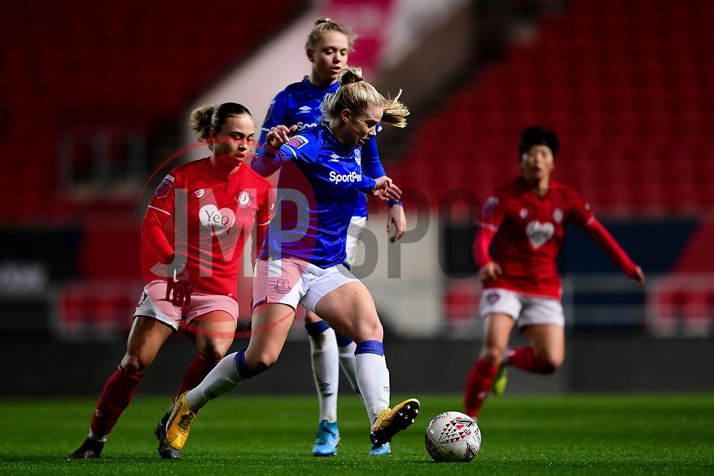 Kika van Es of Everton Women is marked by Ebony Salmon of Bristol City - Mandatory by-line: Ryan Hiscott/JMP - 17/02/2020 - FOOTBALL - Ashton Gate Stadium - Bristol, England - Bristol City Women v Everton Women - Women's FA Cup fifth round