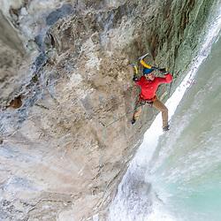 Aaron Mulkey climbing Superfly, M8 behind Ramshorn in Pilot Creek, Wyoming