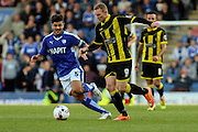 Burton Albion forward Stuart Beavon and Chesterfield FC miffielder Sam Morsy challenge for the ball during the Sky Bet League 1 match between Chesterfield and Burton Albion at the Proact stadium, Chesterfield, England on 26 September 2015. Photo by Aaron Lupton.