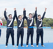 "Rio de Janeiro. BRAZIL  Bronze Medal ITA M4- . Domenico MONTRONE,  Matteo<br /> CASTALDO, Matteo LODO, and Giuseppe VICINO, <br /> 2016 Olympic Rowing Regatta. Lagoa Stadium,<br /> Copacabana,  ""Olympic Summer Games""<br /> Rodrigo de Freitas Lagoon, Lagoa. Local Time 16:50:59  Friday  12/08/2016<br /> [Mandatory Credit; Peter SPURRIER/Intersport Images]"