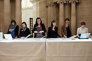 RECEPTION DESK, Susan Hiller opening, Tate Britain. 31 January 2010. -DO NOT ARCHIVE-© Copyright Photograph by Dafydd Jones. 248 Clapham Rd. London SW9 0PZ. Tel 0207 820 0771. www.dafjones.com.