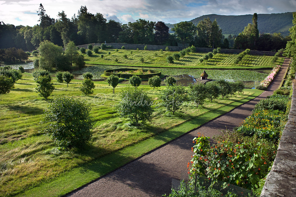 The Hercules Garden, orchard and ponds. <br /> <br /> Blair Castle Gardens &amp; Grounds, Perthshire, Scotland