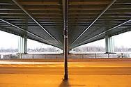 DEU, Germany, Cologne, under the Rodenkirchener bridge across the river Rhine, bridge of the Autobahn A4.....DEU, Deutschland, Koeln, unter der Rodenkirchener Bruecke ueber den Rhein, Bruecke der Autobahn A4...