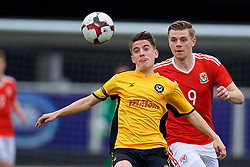 MERTHYR TYDFIL, WALES - Thursday, November 2, 2017: Wales' Rob Reynolds and Newport County's Ryan Scrivens during an Under-18 Academy Representative Friendly match between Wales and Newport County at Penydarren Park. (Pic by David Rawcliffe/Propaganda)