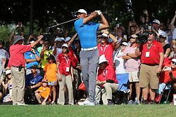 September 22, 2018 - Atlanta, GA, U.S. - ATLANTA, GA - SEPTEMBER 22:     Tiger Woods during the third round of the Tour Championship on September 22, 2018, at East  Lake Golf Club in Atlanta, GA.  (Photo by Michael Wade/Icon Sportswire) (Credit Image: © Michael Wade/Icon SMI via ZUMA Press)