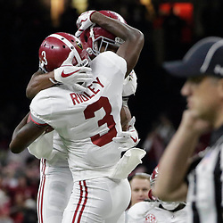 Jan 1, 2018; New Orleans, LA, USA; Alabama Crimson Tide wide receiver Calvin Ridley (3) celebrates a touchdown during the first quarter against the Clemson Tigers in the 2018 Sugar Bowl college football playoff semifinal game at Mercedes-Benz Superdome. Mandatory Credit: Derick E. Hingle-USA TODAY Sports