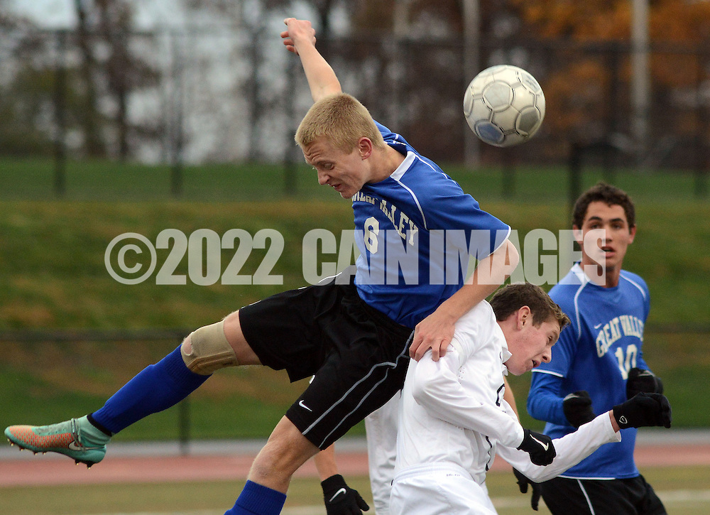 FRANCONIA, PA - NOVEMBER 1: Great Valley's Colin Ditch #6 collides with Central Bucks East's J.R. Eisold after heading the ball during the first half of the District One Championship game at Souderton High School November 1, 2014 in Franconia, Pennsylvania. Central Bucks East defeated Great Valley 1-0. (Photo by William Thomas Cain/Cain Images)