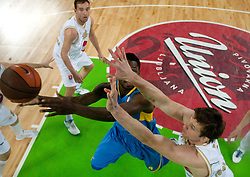 Jeremy Pargo of Maccabi vs Vladimer Boisa of Olimpija during basketball match between KK Union Olimpija (SLO) and Maccabi Tel Aviv (ISR) of Top 16 Game of Turkish Airlines Euroleague, on February  17, 2011 in SRC Stozice, Ljubljana, Slovenia.  (Photo By Vid Ponikvar / Sportida.com)