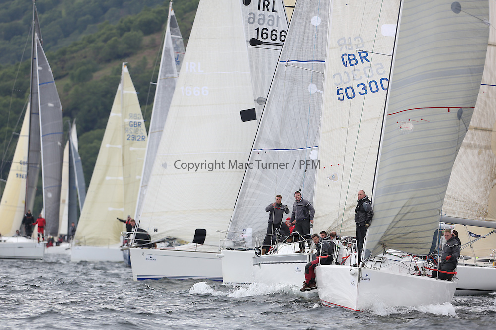 The Silvers Marine Scottish Series 2014, organised by the  Clyde Cruising Club,  celebrates it's 40th anniversary.<br /> Day 2, Combined start with GBR5030C, More Misjif, R. Angus, CCC/ FYC Sunfast 37 and IRL1141,Storm, Pat Kelly, Howth YC / Rush SC, J109<br /> Racing on Loch Fyne from 23rd-26th May 2014<br /> <br /> Credit : Marc Turner / PFM