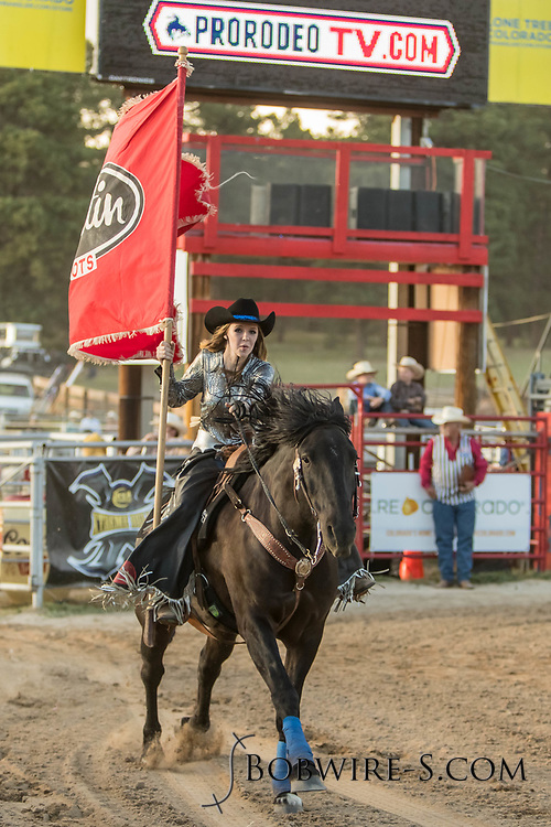 The Blazing Saddles Drill Team kicks off the Xtreme Bulls event at the 2018 Elizabeth Stampede on Friday, June 1, 2018.