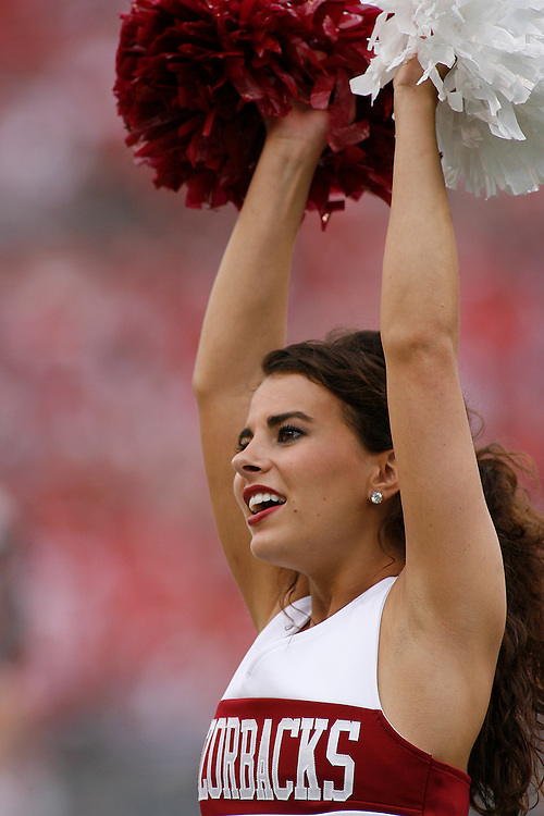 A University of Arkansas cheerleader performs during the Wisconsin Badgers 17-14 victory over the Arkansas Razorbacks in the Capital One Bowl at the Florida Citrus Bowl Stadium in Orlando, Florida on January 1, 2007.