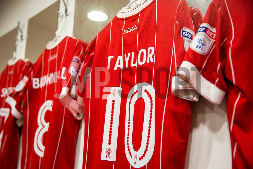 Matt Taylor shirt hangs inside the Bristol City dressing room - Rogan/JMP - 23/12/2017 - Loftus Road - London, England - Queens Park Rangers v Bristol City - Sky Bet Championship.