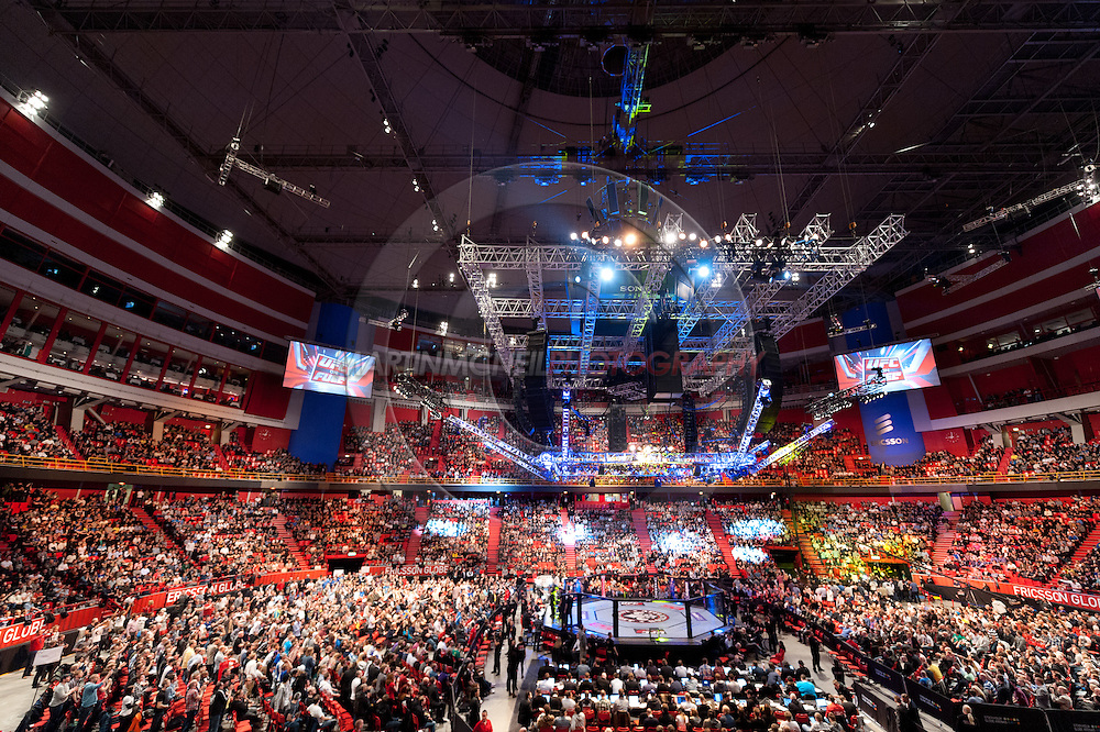 "STOCKHOLM, SWEDEN, APRIL 14: A view of the crowds and octagon during ""UFC on Fuel TV: Gustafsson vs. Silva"" inside the Ericsson Globe Arena in Stockholm, Sweden"