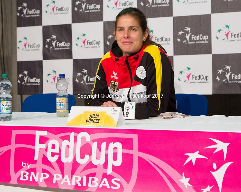 GER-UKR, Deutschland - Ukraine, <br /> Porsche Arena, Stuttgart, internationales ITF  Damen Tennis Turnier, Mannschafts Wettbewerb,<br /> JULIA GOERGES (GER), Pressekonferenz,