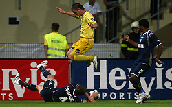 Mirko Hrgovic of Dinamo vs Janez Aljancic  (3) of Domzale at 1st football game of 2nd Qualifying Round for UEFA Champions league between NK Domzale vs HNK Dinamo Zagreb, on July 30, 2008, in Domzale, Slovenia. Dinamo won 3:0. (Photo by Vid Ponikvar / Sportal Images)
