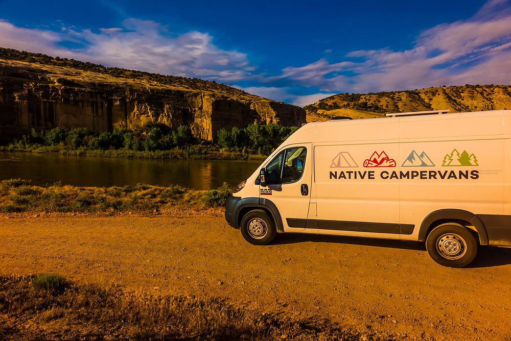 Native Campervans van at the Green River, Dinosaur National Monument, Utah USA.