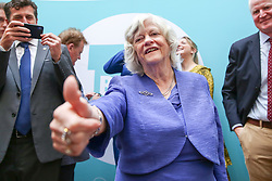 © Licensed to London News Pictures. 27/05/2019. London, UK. Ann Widdecombe MEP for South West England gives a thumbs at the EU election results press conference in Westminster. The newly formed Brexit Party wants the UK to leave the EU without an agreement won 10 of the UK's 11 regions, gaining 28 seats, more than 32% of the vote across the country and are largest party in nine regions. Photo credit: Dinendra Haria/LNP