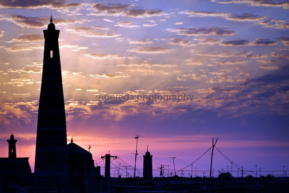 Khiva. Ichon-Qala skyline at sunrise