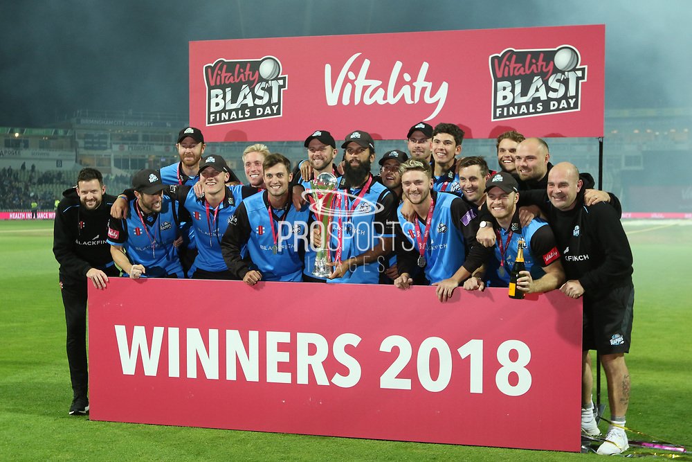 Worcestershire Rapids Moeen Ali with the winners trophy during the final of the Vitality T20 Finals Day 2018 match between Worcestershire rapids and Sussex Sharks at Edgbaston, Birmingham, United Kingdom on 15 September 2018.