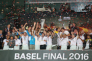 Sevilla lift the Europa League Trophy during the Europa League Final match between Liverpool and Sevilla at St Jakob-Park, Basel, Switzerland on 18 May 2016. Photo by Phil Duncan.