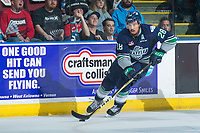 KELOWNA, CANADA - APRIL 25: Keegan Kolesar #28 of the Seattle Thunderbirds skates with the puck against the Kelowna Rockets on April 25, 2017 at Prospera Place in Kelowna, British Columbia, Canada.  (Photo by Marissa Baecker/Shoot the Breeze)  *** Local Caption ***