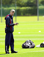 Photo: Greig Cowie<br /> FA Cup week. Arsenal Training 15/05/2003<br /> Arsene Wenger counting down the hours to Cardiff