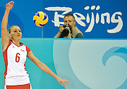 (L) ANNA PODOLEC (POLAND) VOLLEYBALL & (R) PHOTOGRAPHER JACEK KOSTRZEWSKI (PAP)  DURING VOLLEYBALL MATCH BETWEEN POLAND AND CUBA DURING THE BEIJING 2008 SUMMMER OLYMPICS GAMES IN BEIJING, CHINA.. .CHINA , BEIJING , AUGUST 9, 2008..( PHOTO BY ADAM NURKIEWICZ / MEDIASPORT )..PICTURE ALSO AVAIBLE IN RAW OR TIFF FORMAT ON SPECIAL REQUEST.