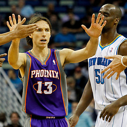 February 2, 2012; New Orleans, LA, USA; Phoenix Suns point guard Steve Nash (13) celebrates with teammates during the second half a game against the New Orleans Hornets at the New Orleans Arena. The Suns defeated the Hornets 120-103.  Mandatory Credit: Derick E. Hingle-US PRESSWIRE