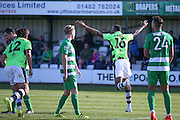 Forest Green Rovers defender Ethan Pinnock (16) scores a goal and celebrates to make the score 0-1 during the Vanarama National League match between North Ferriby United and Forest Green Rovers at Eon Visual Media Stadium, North Ferriby, United Kingdom on 8 October 2016. Photo by Simon Davies.