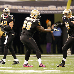 Oct 31, 2010; New Orleans, LA, USA; New Orleans Saints safety Darren Sharper (42) celebrates following a fumble recovery during the second half against the Pittsburgh Steelers at the Louisiana Superdome. The Saints defeated the Steelers 20-10.  Mandatory Credit: Derick E. Hingle..