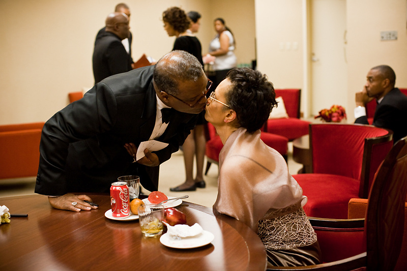NATIONAL HARBOR, MD - DECEMBER 6: Prince George's County Executive-Elect Rushern Baker III kisses his wife Christa Beverly Baker before his speech during the inaugural ball at Gaylord National Convention on December 6, 2010 in National Harbor, Maryland. (Photo by Michael Starghill, Jr.)