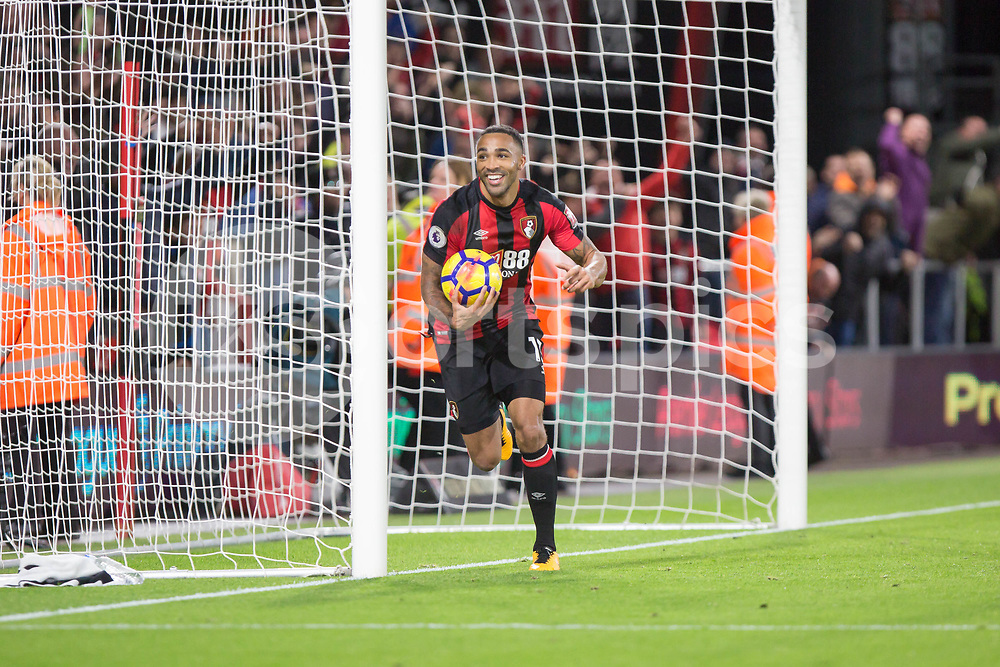 Callum Wilson of Bournemouth celebrates his hat trick during the Premier League match between Bournemouth and Huddersfield Town at the Vitality Stadium, Bournemouth, England on 18 November 2017. Photo by Simon Carlton.