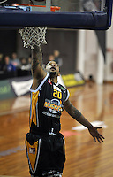 B. J. Anthony dunks, in  the NBL match, between the Otago Nuggets and Manawatu Jets, Lion Foundation Arena, Edgar Centre, Dunedin, Otago, New Zealand, Saturday, June 8, 2013. Credit: Joe Allison / Allison Images
