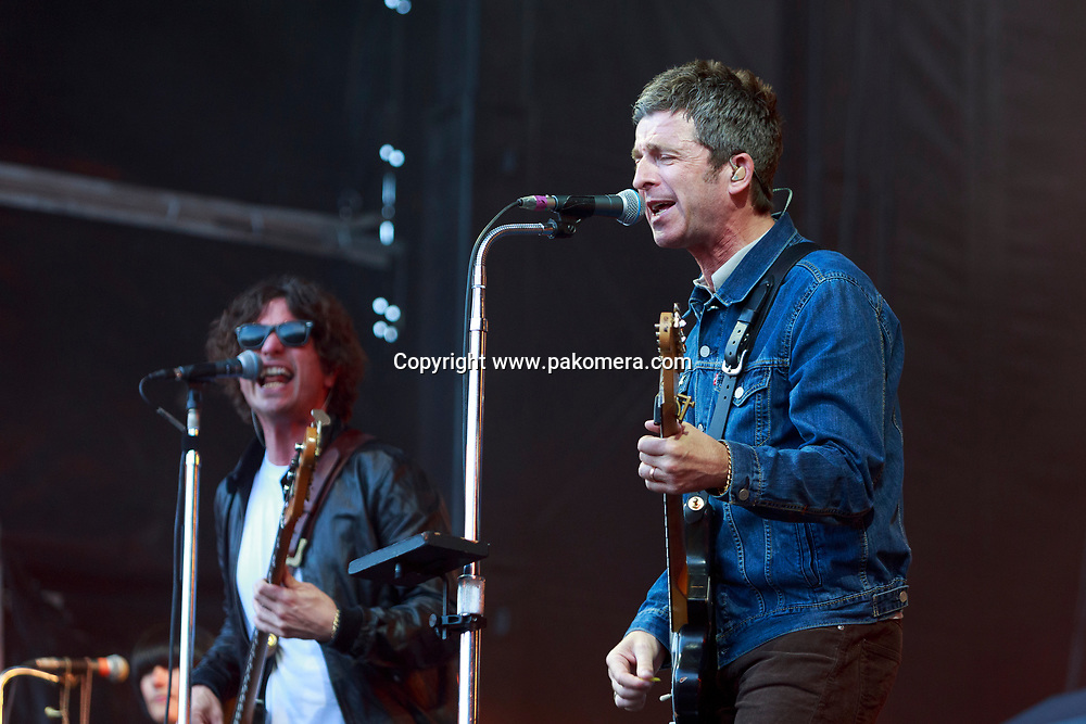Edinburgh, Scotland. UK. 19 July. Noel Gallagher's High Flying Birds perform on stage in the Edinburgh Castle's Esplanade on 19 July 2018. Photo: Pako Mera/Alamy Live News.