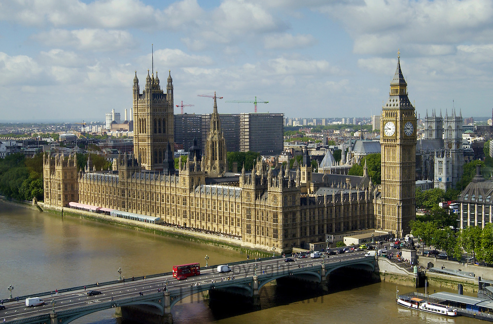 Aerial view Big Ben, the Houses of Parliament, River Thames famous tourist landmark, Westminster Bridge, London bus, England, United Kingdom