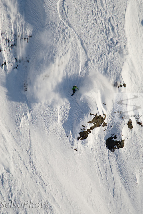 Seth Wescott snowboarding big mountain lines in the Chugach Range on April 15 with the Warren Miller Entertainment crew and Points North Heli Skiing based in Cordova, AK.
