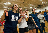 "Enthusiastic bystanders cheer on their favorite team at the ""Ballin' for Bob"" Tournament for Hope at Laconia High School on Saturday.  (Karen Bobotas/for the Laconia Daily Sun)"