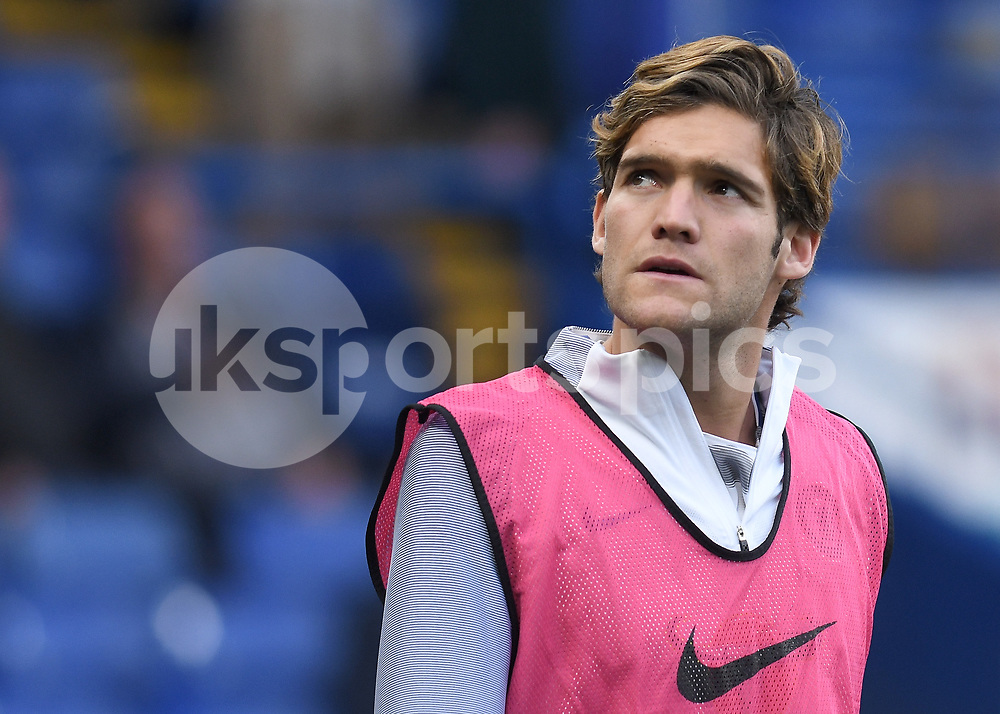 Marcos Alonso of Chelsea warms up during the Premier League match between Chelsea and Manchester City at Stamford Bridge, London, England on 30 September 2017. Photo by Vince Mignott.